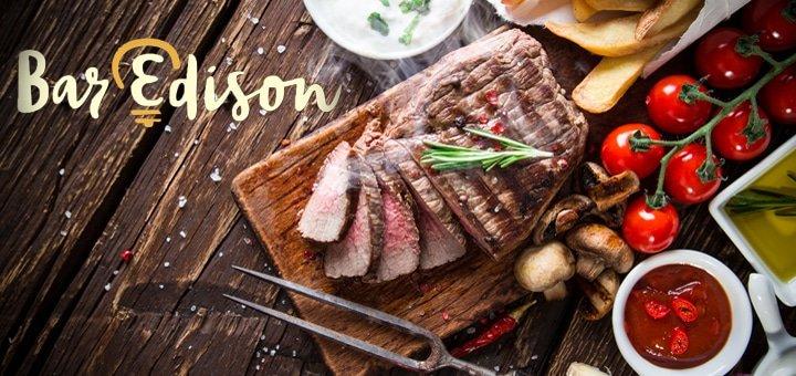 """Вкусно и весело! 50% на всё меню кухни, чайную и кофейную карту и коктейли в новом заведении """"Bar Edison""""!"""