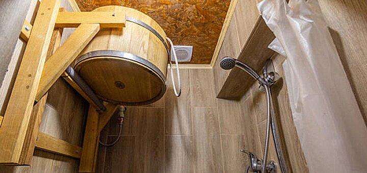 3 часа отдыха в бане на дровах «Панорама» с прямым выходом к Днепру в комплексе отдыха «Причал»
